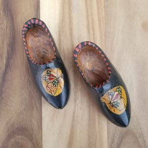 Vintage Butterfly Wooden Minature Shoe Souvenir